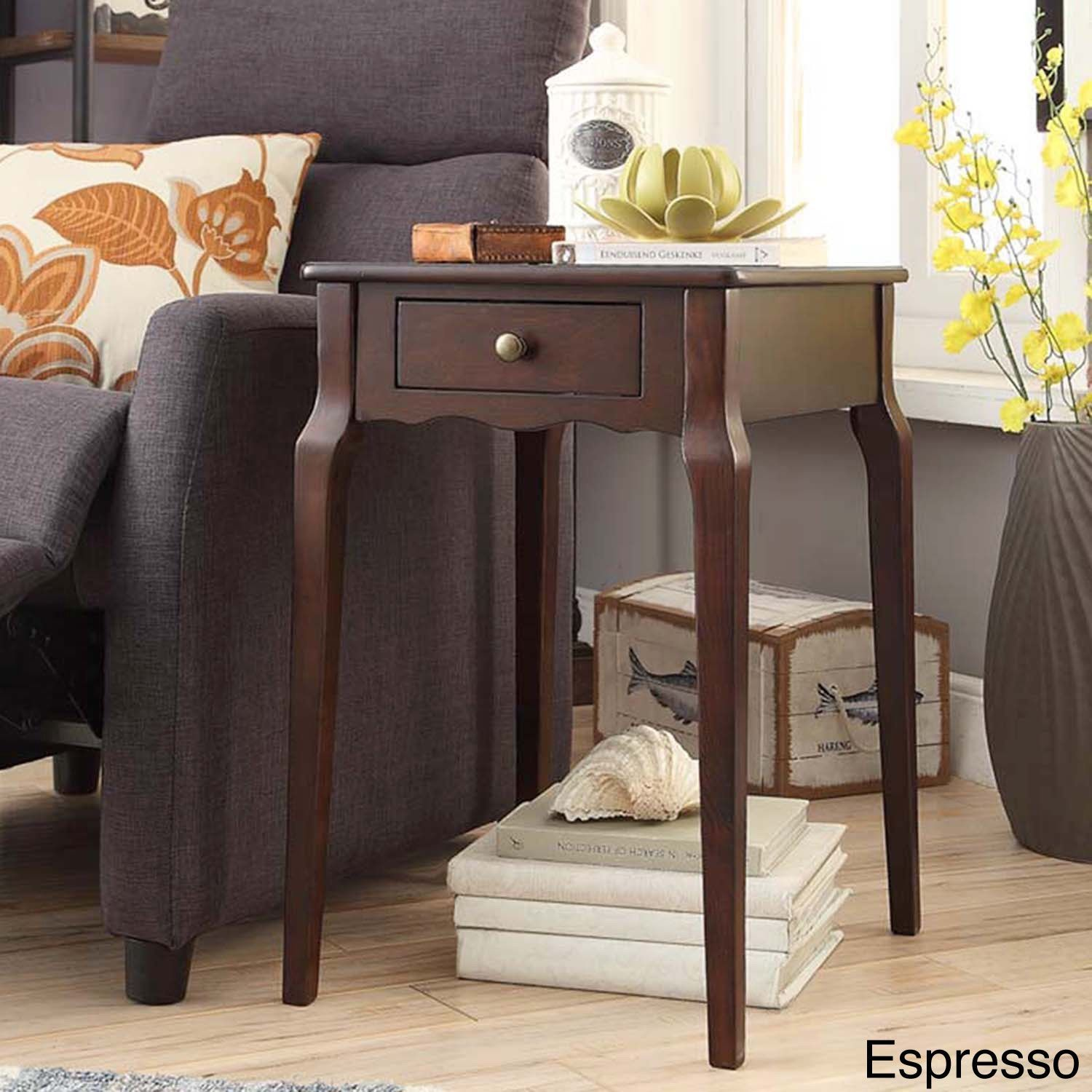 Side table with drawer  Daniella drawer Wood Storage Accent Side Table by iNSPIRE Q Bold