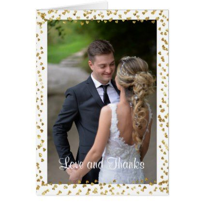 Gold Hearts Photo Wedding Thank You Note Card  Wedding Thank You