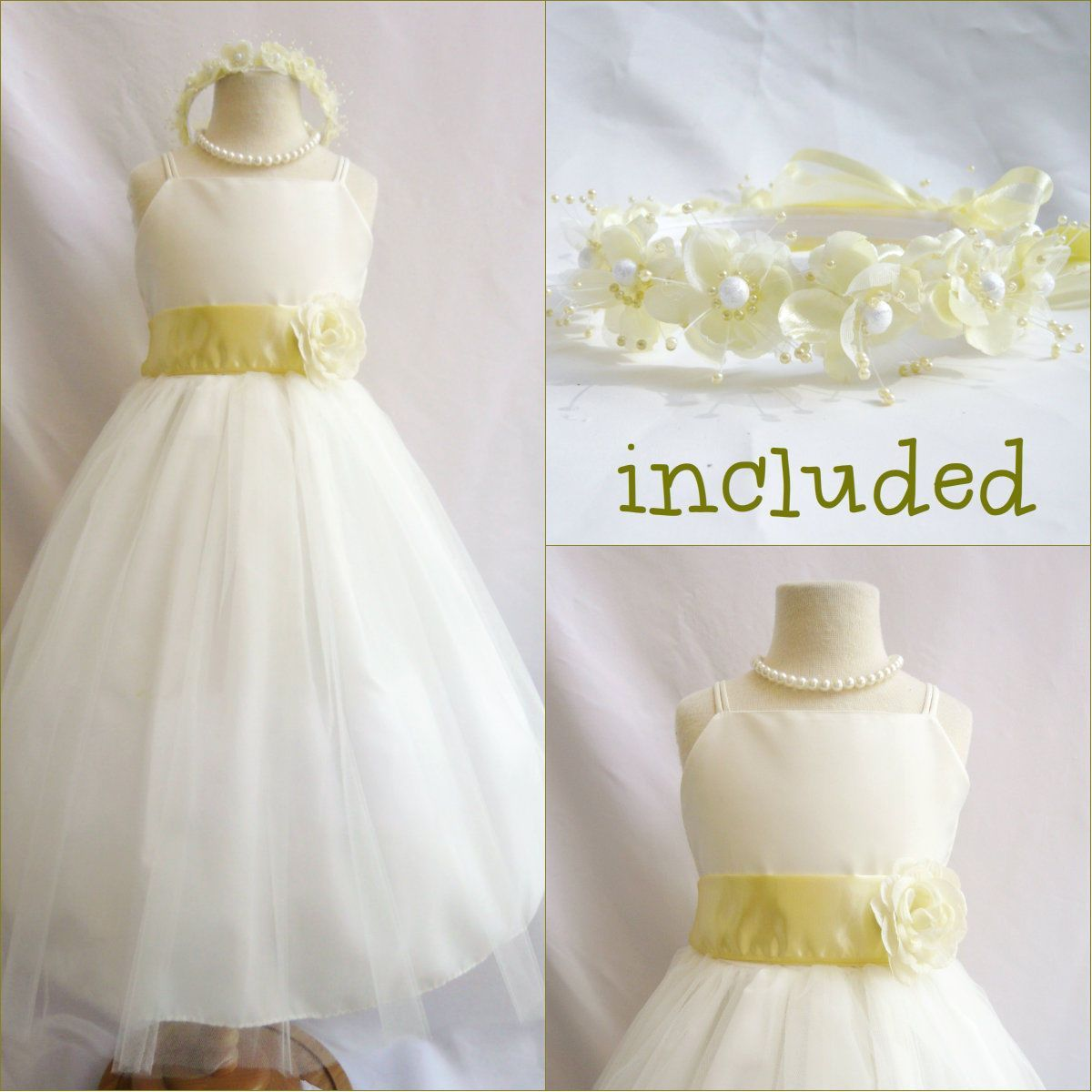 Beautiful Ivorycanary Light Yellow Flower Girl Dress Free Headpiece