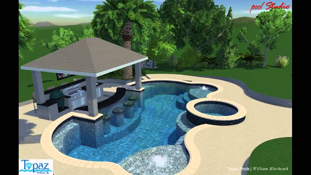 Swim up bar pool video backyard pool landscaping for Pool design with bar