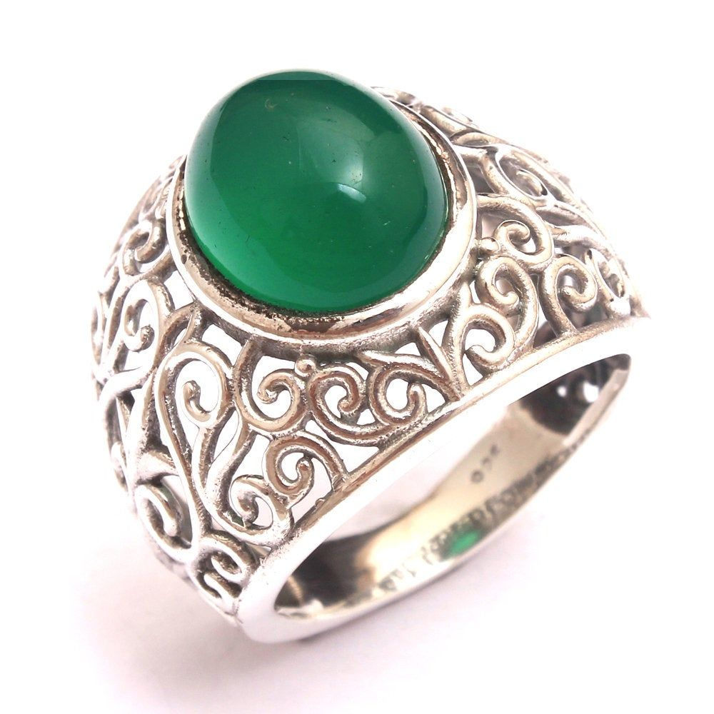 Faceted Sakota Mine Emerald solid 925 sterling silver jewelry Ring Choose Size