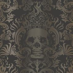 Silver Gold And Black Skull Damask Wallpaper 29 99 Per Roll Wow This Wallpaper Is Really Gorgeous It Really Doesn T Over Damask Wallpaper Goth Home Damask