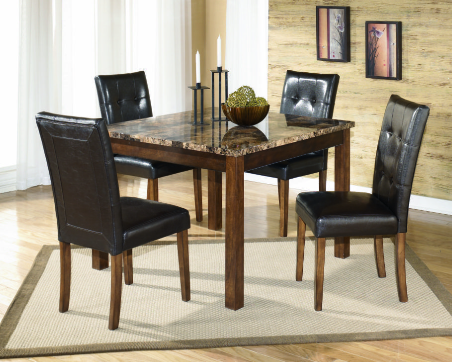 Square Dining Table With Glossy Marble Top Completing This Dining