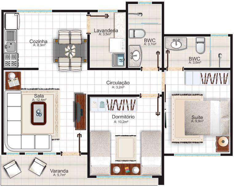 Plano de casa de un piso para terreno de 10 x 15 m for Planos de casas de un piso