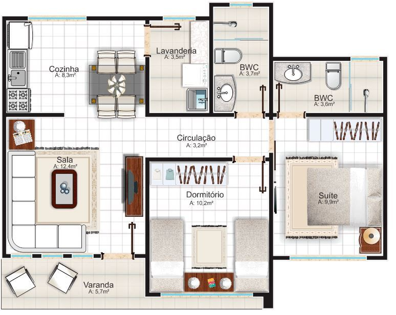 Plano de casa de un piso para terreno de 10 x 15 m for Casas en ele planos