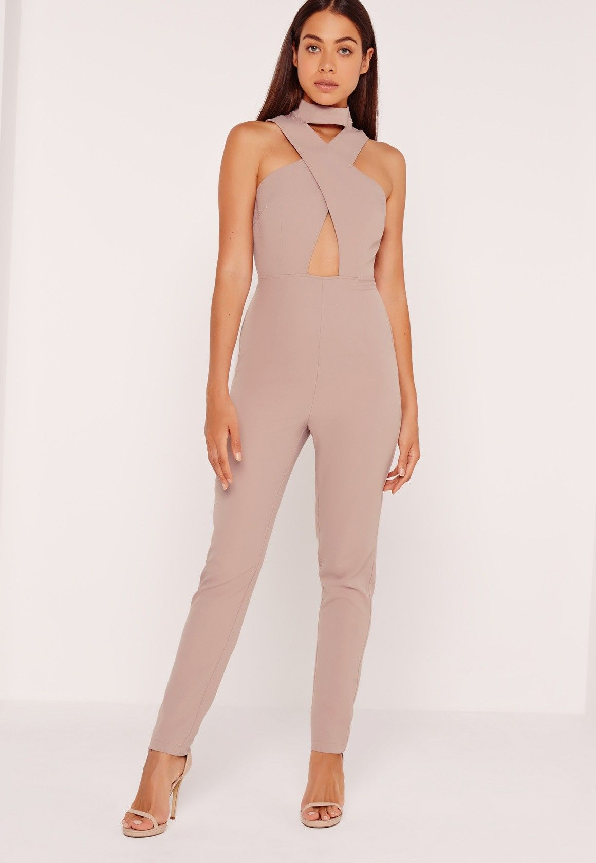 0a6fcf020a Missguided - Crepe Cross Front Choker Jumpsuit Nude