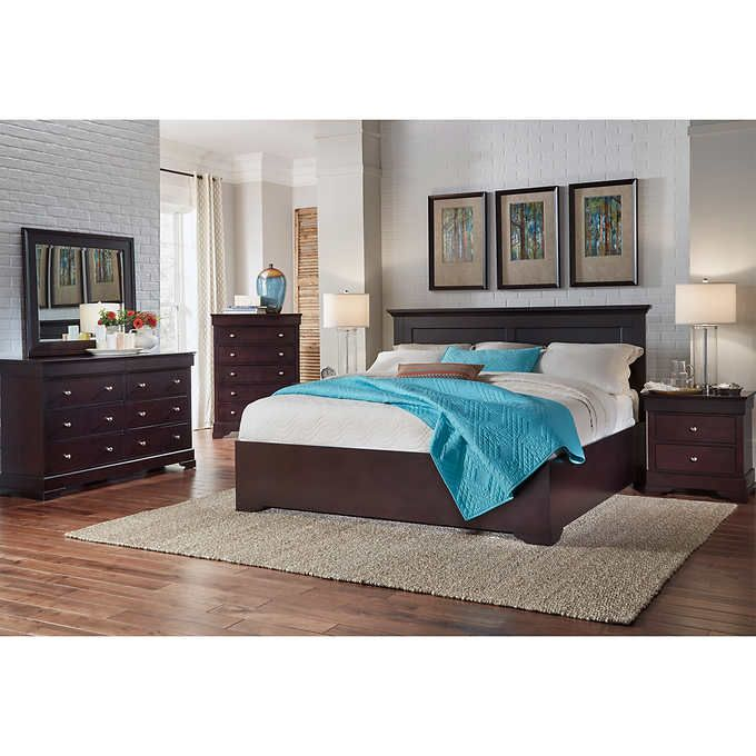 Manhattan 6 Piece King Bedroom Set Cherry: Pin By Nicole Critchlow On Dream Home