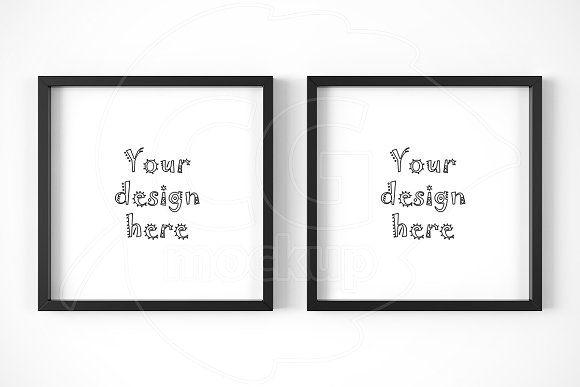 Kit x2 classic square frames mockup by CGmockup on @creativemarket