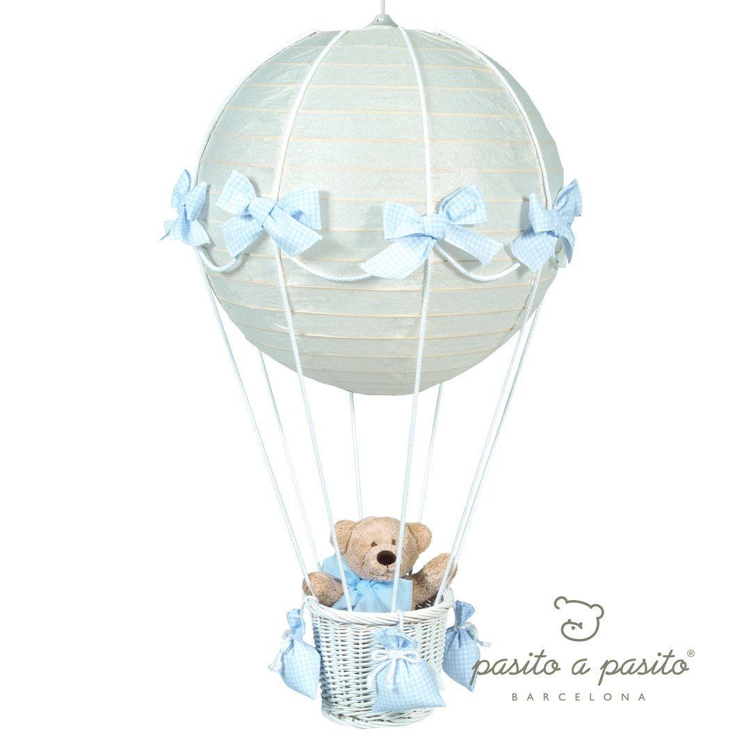 lampara globo oso cuadritos vichy azul para techo x cm pasito a pasito