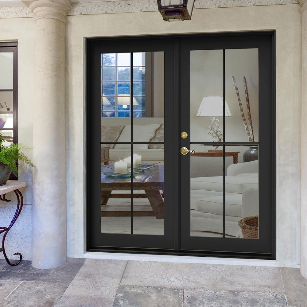 Jeld Wen 72 In X 80 In W 2500 Bronze Clad Wood Right Hand 4 Lite French Patio Door W White Paint Interior Thdjw221900471 The Home Depot French Doors Exterior French Doors Patio Brick Exterior
