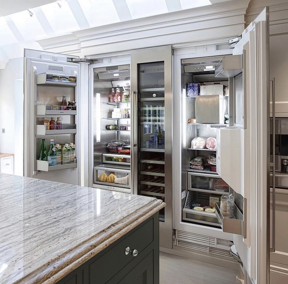 the column refrigeration and freezer units bookend a wine on modern kitchen design that will inspire your luxury interior essential elements id=46551