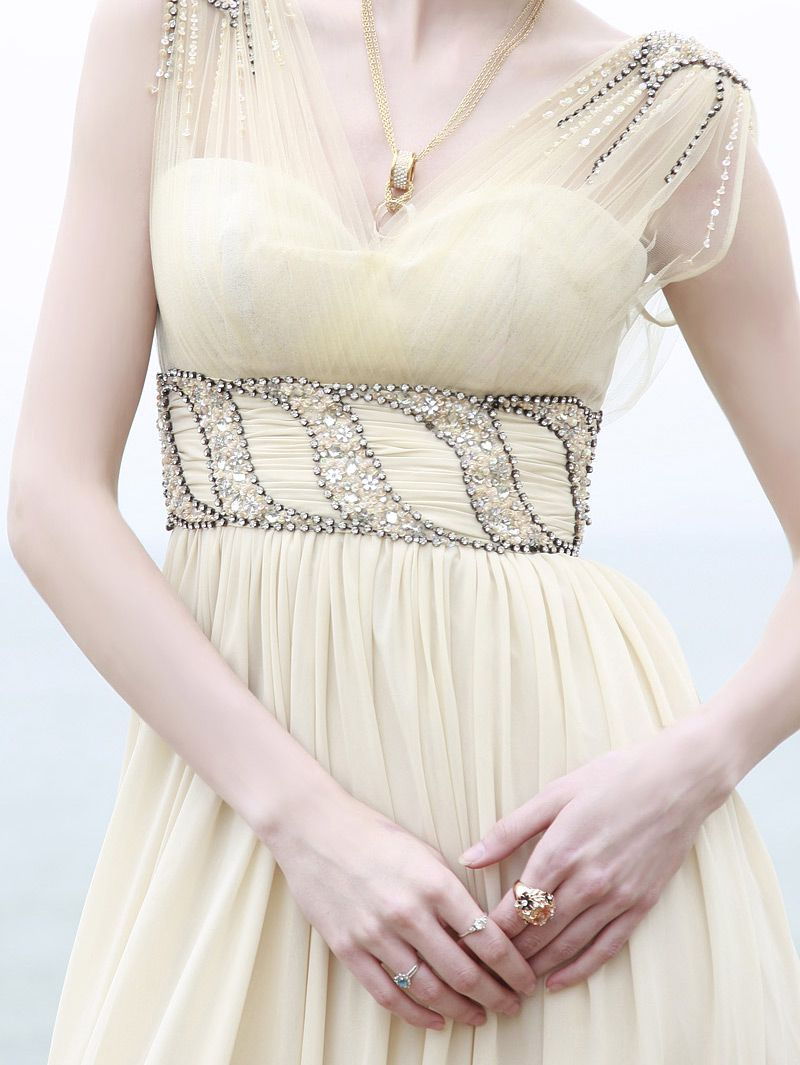 Offwhite empire waist organza straps evening dress wedding