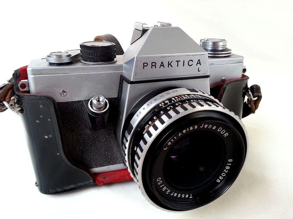 Vintage praktica l mm slr camera with carl zeiss jena ddr