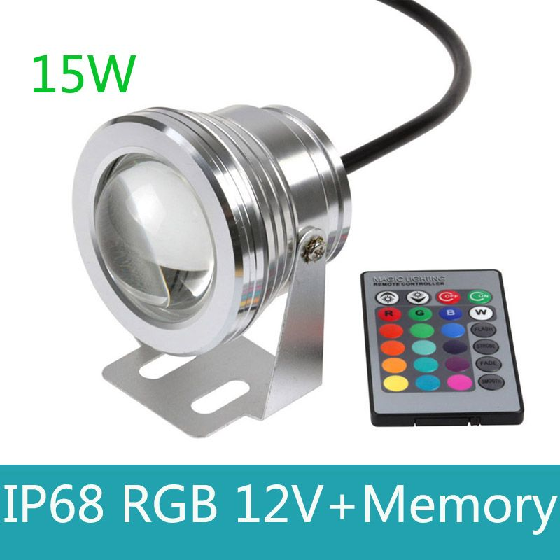 15w 12v Led Rgb Underwater Spot Light Waterproof Ip68 Fountain Pool Lamp 16 Colorful Change With Ir Remote Underwater Lights Led Pool Lighting Fountain Lights