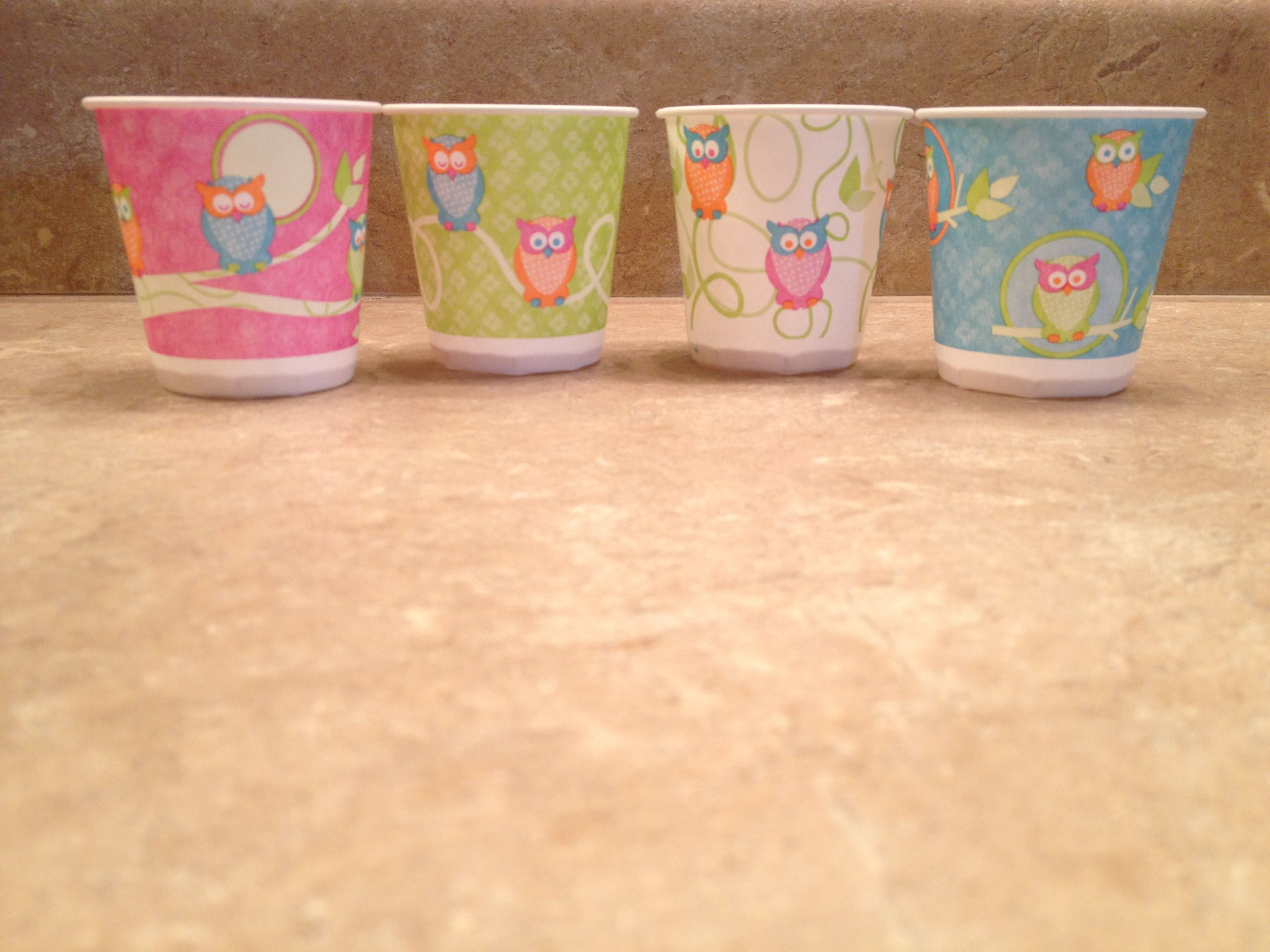 Owl Dixie cups | Crazy Owl Lady | Pinterest