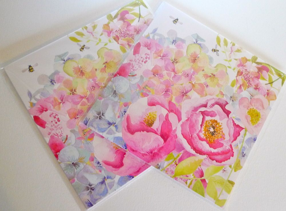 Peonie Cole Peony Bee Card by textile designer Catherine Beaumont