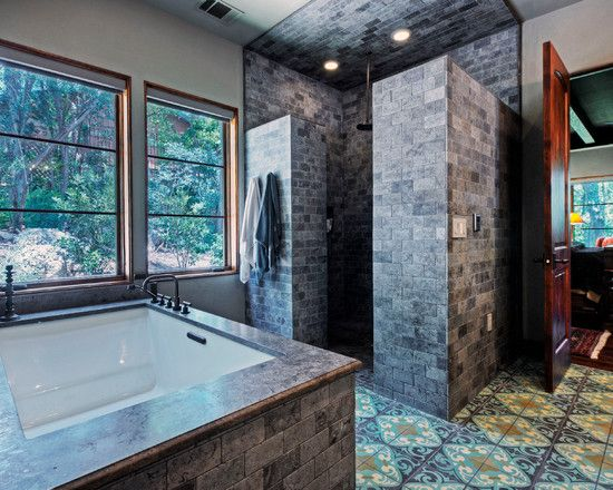 Terrific Walk In Shower Ideas For Small Bathrooms Gray Brick Wall