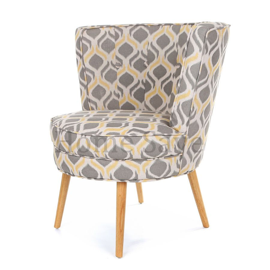 Lovely Milly Grey Print Barrel Chair Armchair Accent Chair Home Furniture Sofa