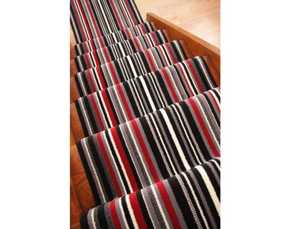 lima black red grey modern stripe stair carpet runner rug narrow wide any length