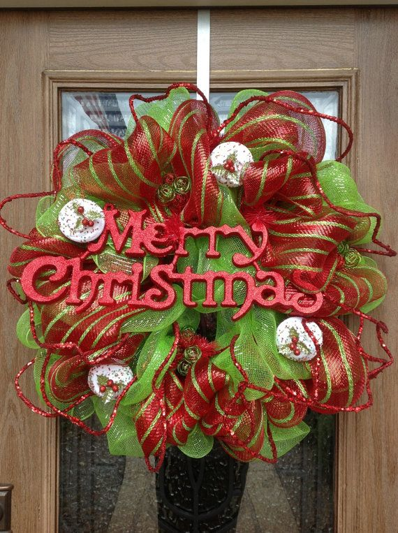 Christmas red and green deco mesh wreath by