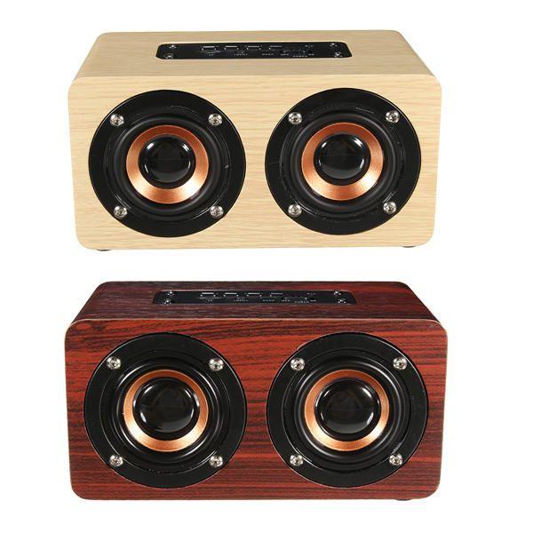 Wireless Speaker Bluetooth Super Bass 3D Surround Stereo Wooden Dual Loudspeaker