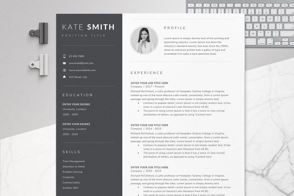 Resume Template / CV (One Page) en 2020 Diseño grafico