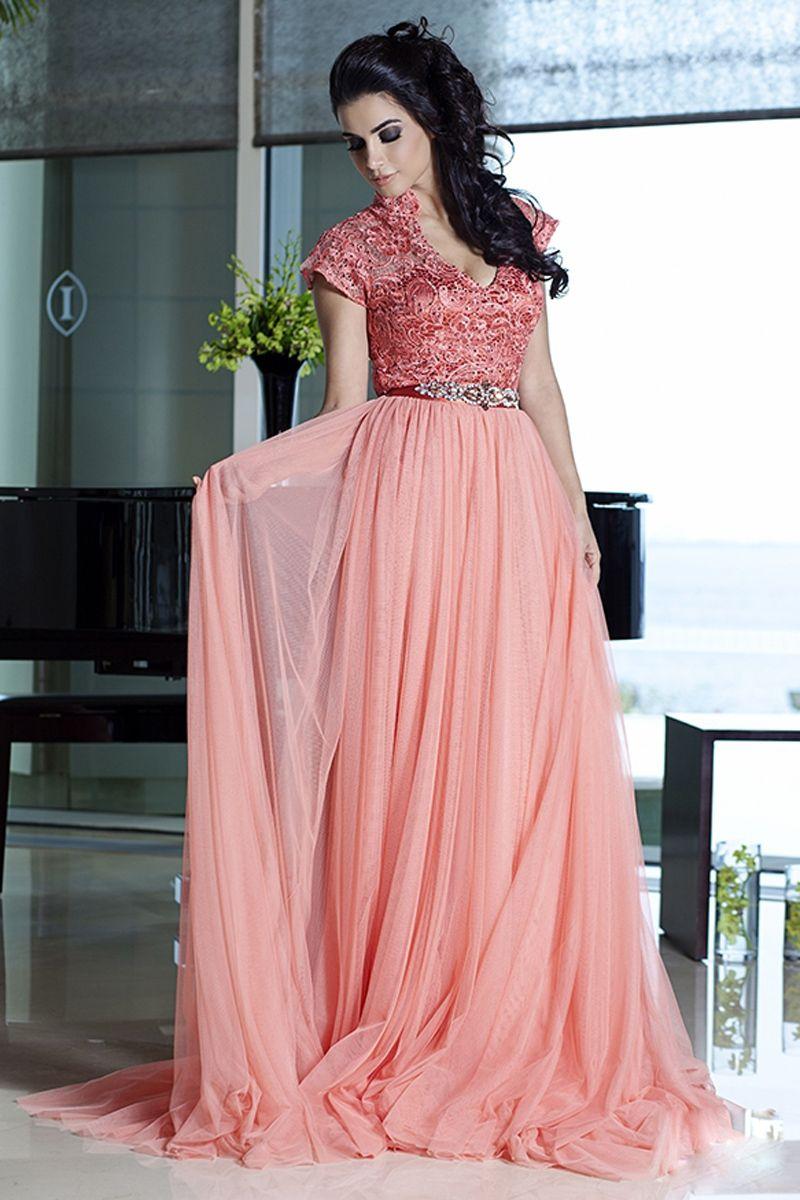 New Arabic Kaftan Lace A-Line Long Elegant Evening Dresses With ...