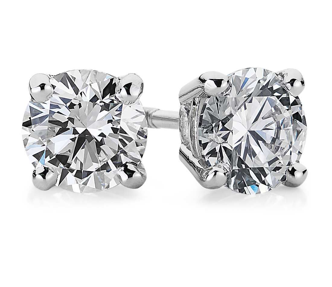 Diamond Stud Earrings in 18k White Gold (1 ct. tw.) A girl can dream.