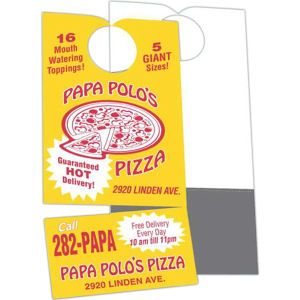 Offset White Tag Door Hanger With Business Card Magnet
