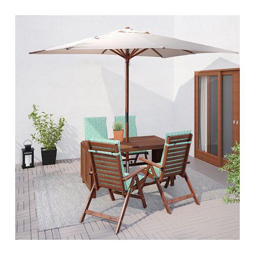 ÄPPLARÖ Table + 4 reclining chairs, outdoor, brown stained, Nästön green Äpplarö brown stained/Nästön green