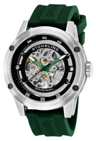Stuhrling Original 314R.3316D71 Leisure Zeppelin 360 Sport Green Automatic Skeleton Watch For Men