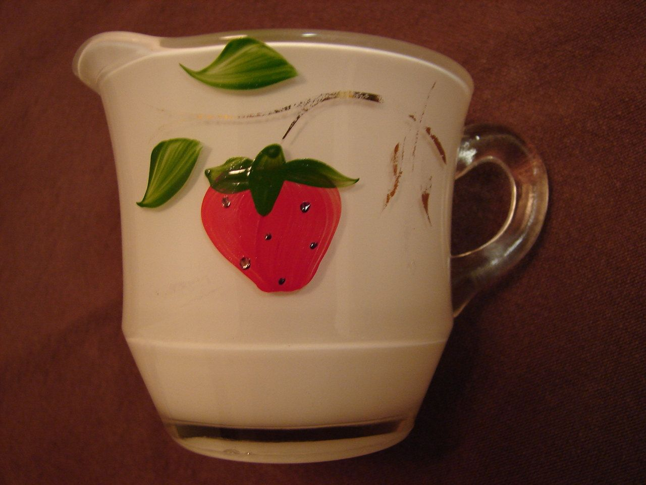 CREAMER, Strawberry Design, Pressed Glass, Frosted White Inside, Hand Painted, Gold Trim, Vintage Creamer by BackStageVintageShop on Etsy