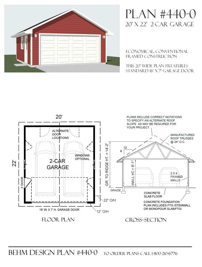 Basic 2 Car Garage Plan 440 0 20 X 22 By Behm Design 2 Car Garage Plans Garage Plans Car Garage