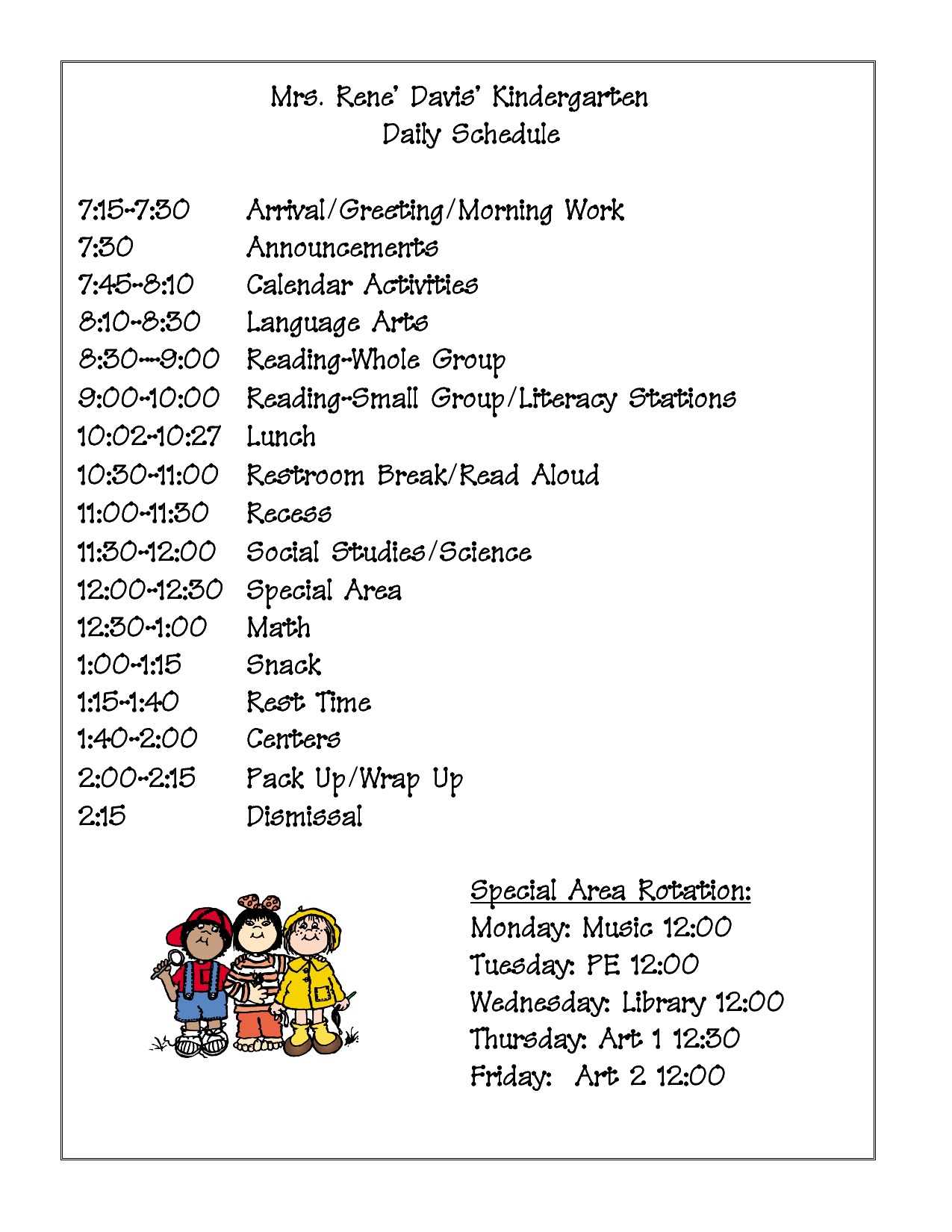 The gallery for daily schedule template for preschool for Kindergarten timetable template