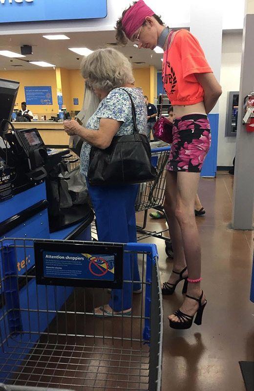6432552959e Big and Tall T-shirts and High Heels at Walmart | People at Walmart ...