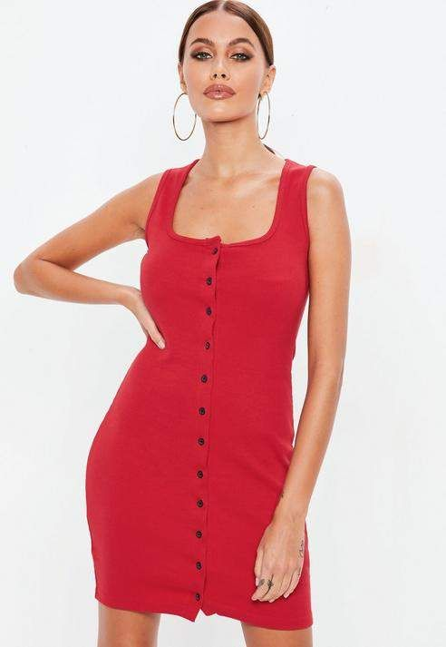 501d3138dfdb Missguided Red sleeveless ribbed button down mini dress | Women's ...