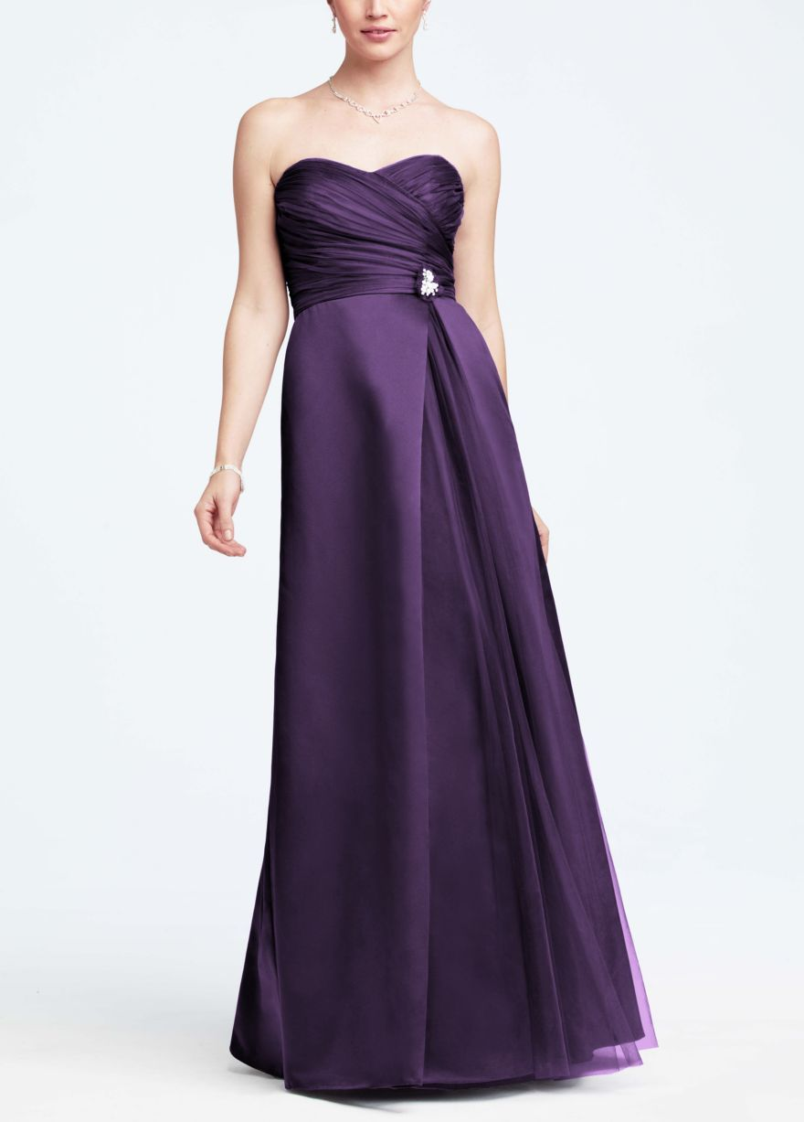 Davidus bridal strapless satin long dress with side brooch