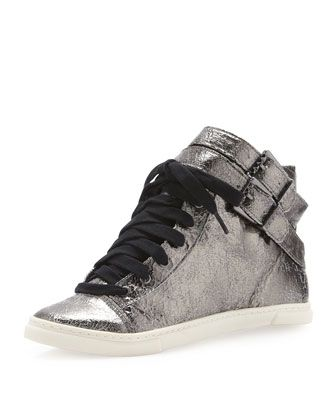 Aila+Double-Buckle+Leather+Sneaker,+Silver+by+Schutz+at+Neiman+Marcus+Last+Call. Gorg