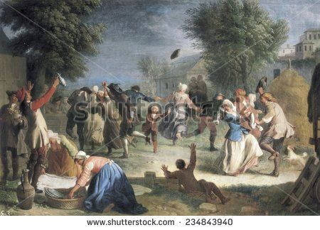 HOUASSE Michel-Ange (1680-1730), Peasant Feast, Baroque art, Oil on canvas,
