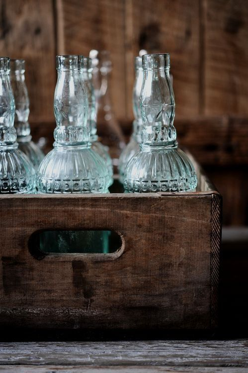 Brown:  #Brown crate with vintage glass bottles, Celine Steen.