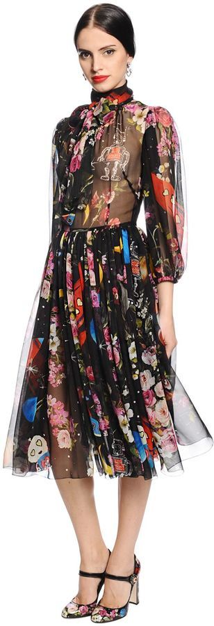 Fashions by Dolce & Gabbana. Disclosure: I'm an affiliate marketer. When you click on the link to the retailer (shopstylecollective) I earn a commission. Flowers & Space Printed Chiffon Dress