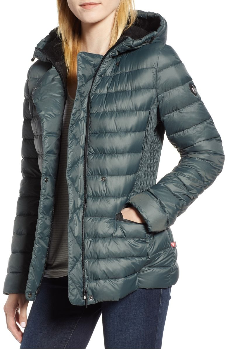 Sporty Hooded Puffer Jacket Main Color Green Spruce Jackets Puffer Jackets Sporty [ 1197 x 780 Pixel ]