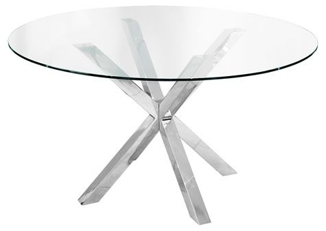 Daphene Large Glass Table 120cm Round Dining Kitchen Table