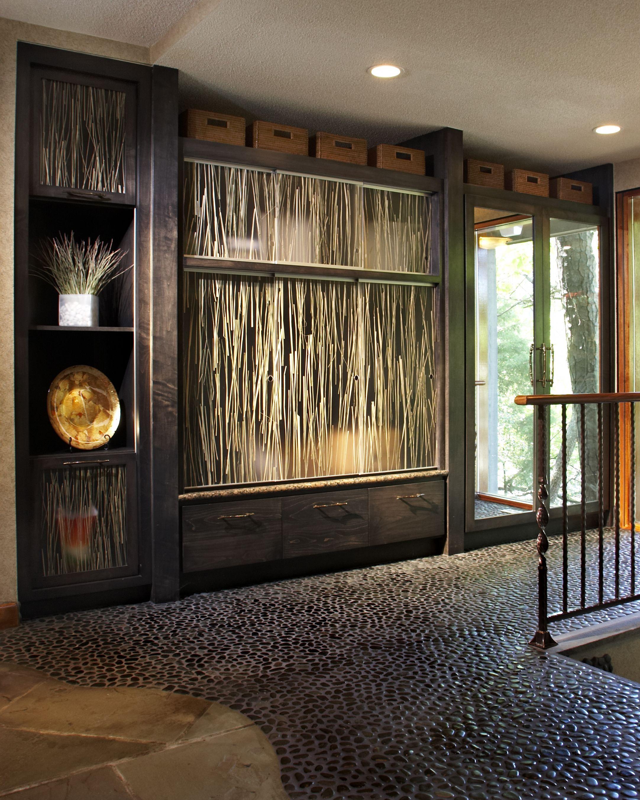 Residential vestibule. Cedar coat closet, storage, and