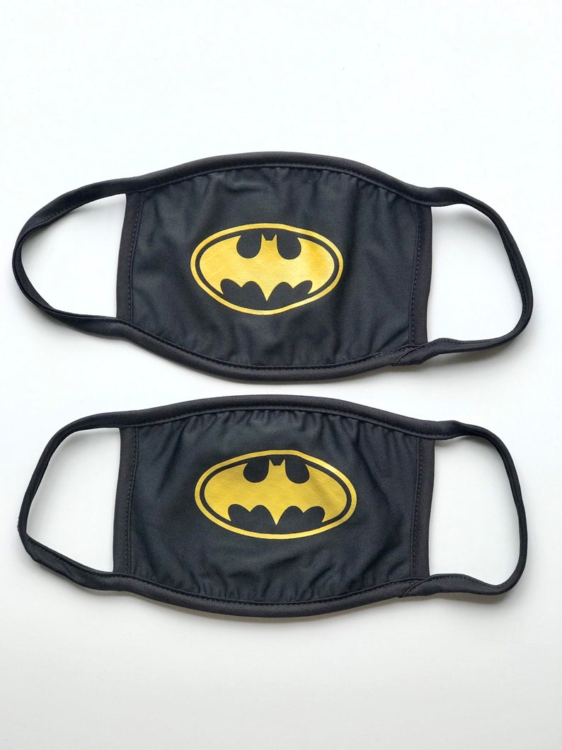 2 Pack Batman Inspired Face Mask 3 Layered Soft Fabric Etsy Face Mask Batman Inspired Fashion Face Mask