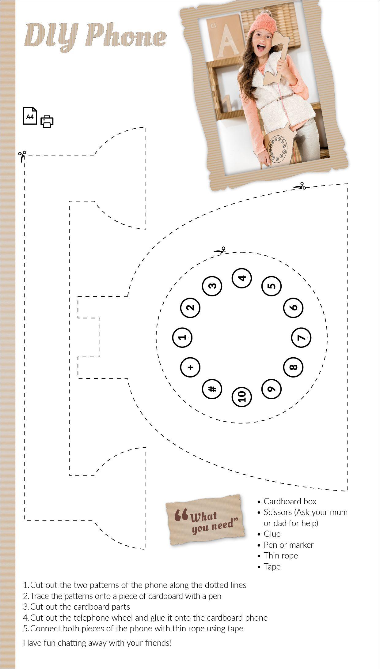 Cardboard telephone template | JBC ♥s D.I.Y. | Pinterest ...