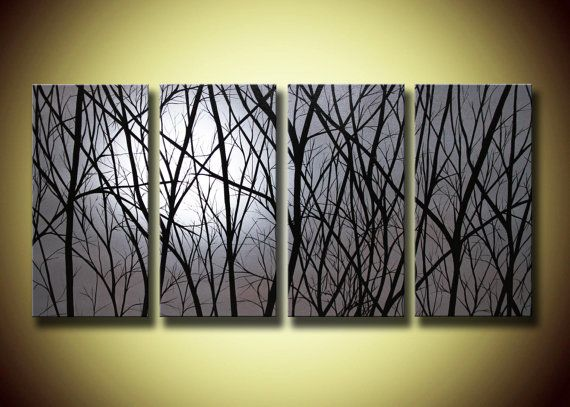 Gran Galería Envuelto 4 Panel Lámina sobre lienzo