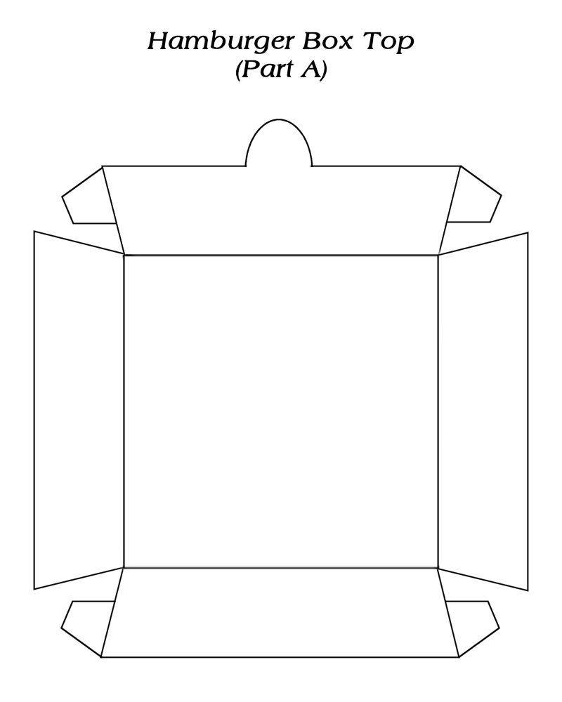 Hamburger Box ( 1 ) Template - free to use | ✄ - - - - Tempℓate T ...