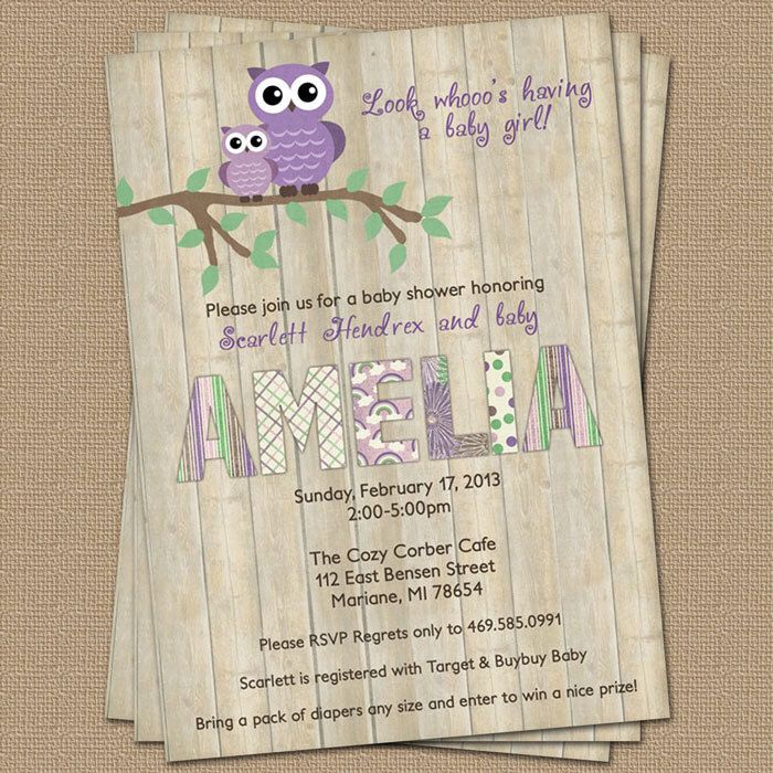 Purple Owl baby shower invitation with wood background, digital, printable file by freshlysqueezedcards on Etsy https://www.etsy.com/listing/122496402/purple-owl-baby-shower-invitation-with