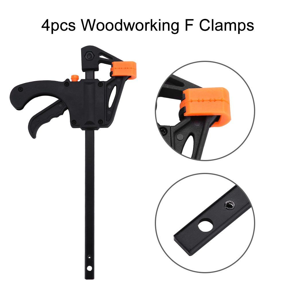 4pcs Woodworking F Clamp 4Inch Bar F Clamps Clip Wood Carpenter Tool Grip Quick Ratchet Release Squeeze Woodworking DIY Hand Tool Kit Black F-Bar Clamp